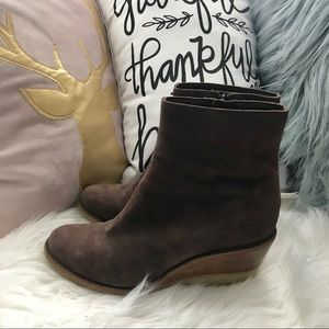 Cole Haan Brown Suede Wedge Boots, Size 8.5